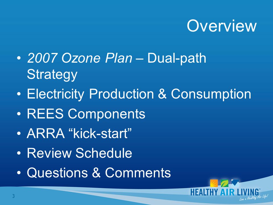 3 Overview 2007 Ozone Plan – Dual-path Strategy Electricity Production & Consumption REES Components ARRA kick-start Review Schedule Questions & Comments