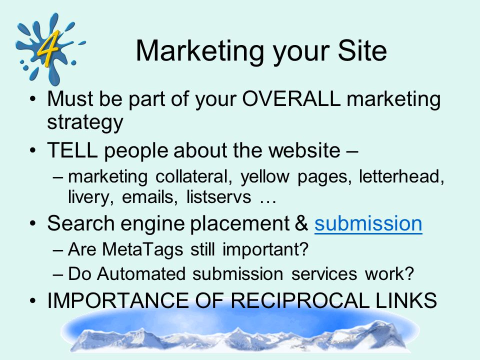 Marketing your Site Must be part of your OVERALL marketing strategy TELL people about the website – –marketing collateral, yellow pages, letterhead, livery, emails, listservs … Search engine placement & submissionsubmission –Are MetaTags still important.