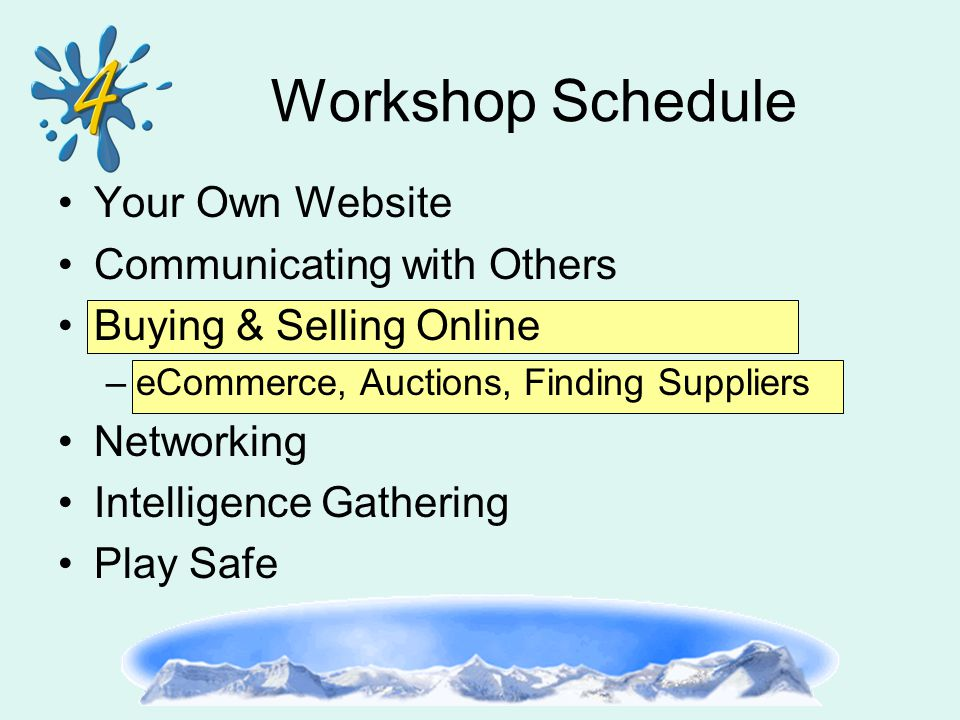 Your Own Website Communicating with Others Buying & Selling Online –eCommerce, Auctions, Finding Suppliers Networking Intelligence Gathering Play Safe Workshop Schedule