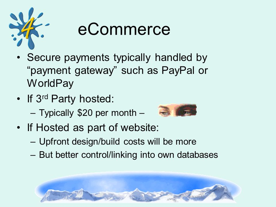 eCommerce Secure payments typically handled by payment gateway such as PayPal or WorldPay If 3 rd Party hosted: –Typically $20 per month – If Hosted as part of website: –Upfront design/build costs will be more –But better control/linking into own databases