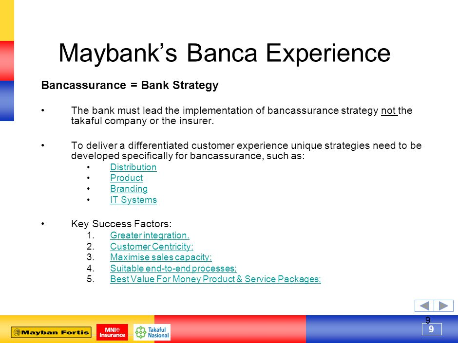 9 9 Maybank's Banca Experience Bancassurance = Bank Strategy The bank must lead the implementation of bancassurance strategy not the takaful company or the insurer.