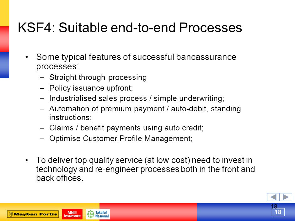 18 KSF4: Suitable end-to-end Processes Some typical features of successful bancassurance processes: –Straight through processing –Policy issuance upfront; –Industrialised sales process / simple underwriting; –Automation of premium payment / auto-debit, standing instructions; –Claims / benefit payments using auto credit; –Optimise Customer Profile Management; To deliver top quality service (at low cost) need to invest in technology and re-engineer processes both in the front and back offices.