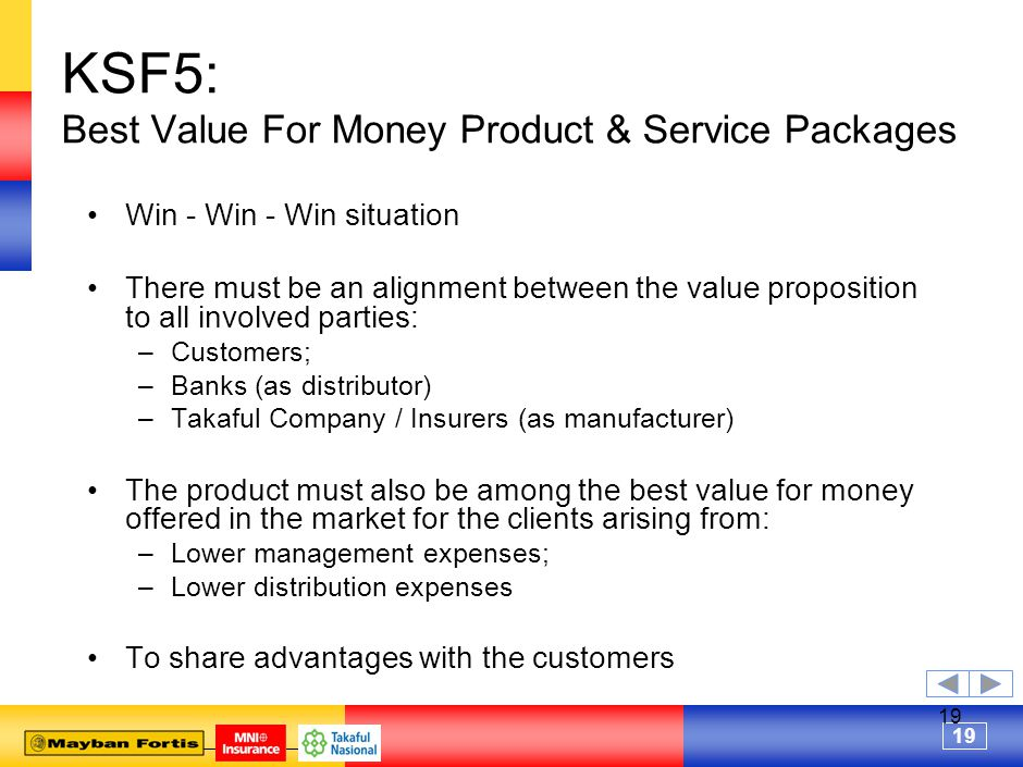 19 KSF5: Best Value For Money Product & Service Packages Win - Win - Win situation There must be an alignment between the value proposition to all involved parties: –Customers; –Banks (as distributor) –Takaful Company / Insurers (as manufacturer) The product must also be among the best value for money offered in the market for the clients arising from: –Lower management expenses; –Lower distribution expenses To share advantages with the customers