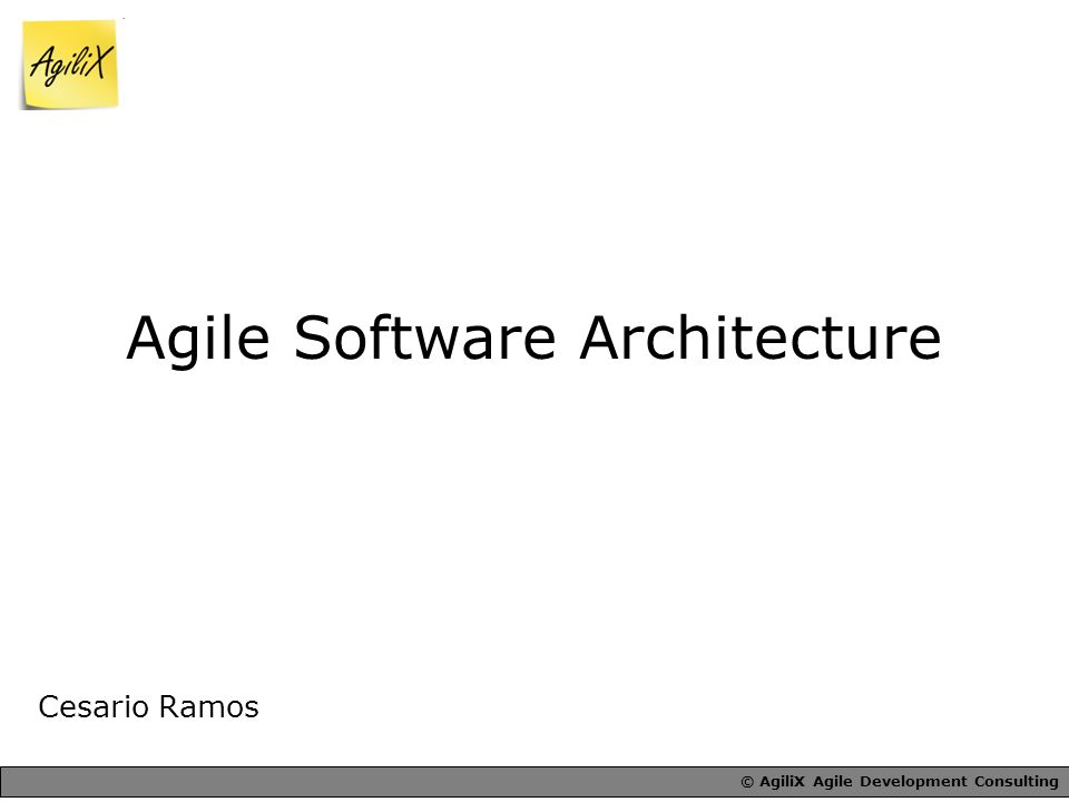 © AgiliX Agile Development Consulting Agile Software Architecture Cesario Ramos