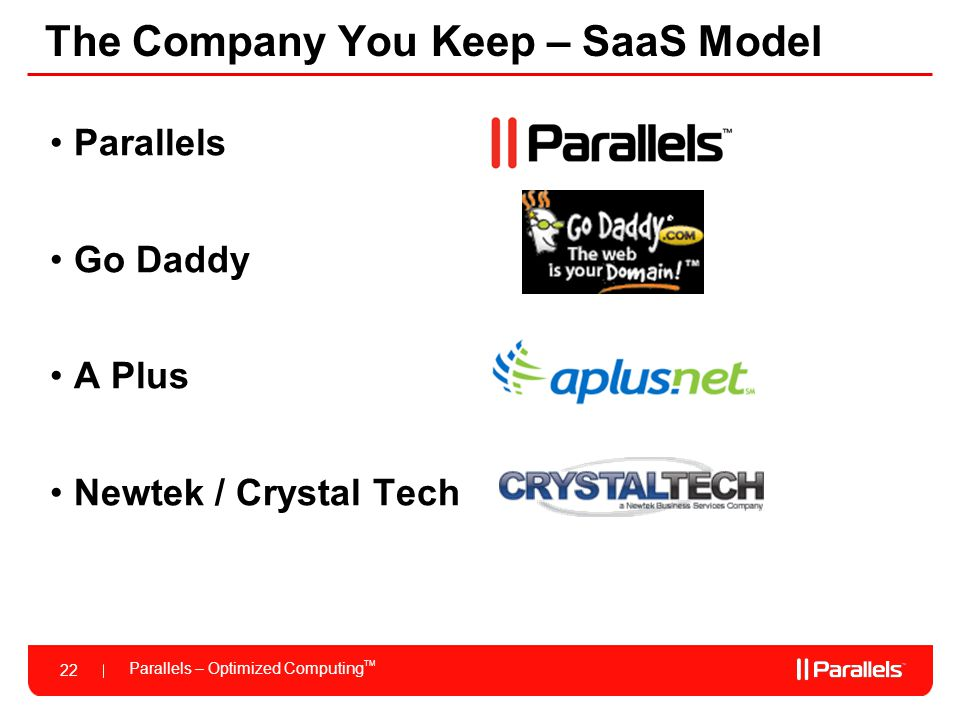 Parallels – Optimized Computing TM 22 The Company You Keep – SaaS Model Parallels Go Daddy A Plus Newtek / Crystal Tech