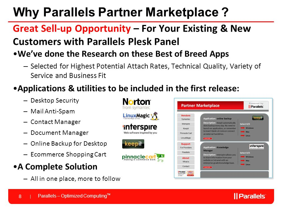 Parallels – Optimized Computing TM 9 Agenda Introduction Keepit Pinnacle Cart Closing Q & A