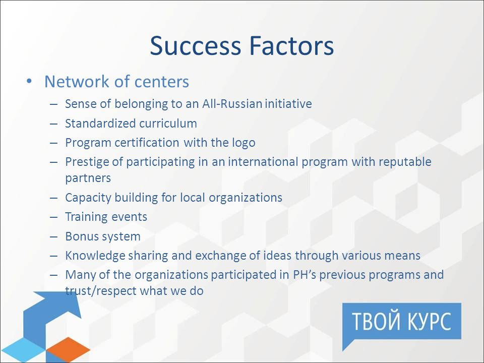 Success Factors Network of centers – Sense of belonging to an All-Russian initiative – Standardized curriculum – Program certification with the logo – Prestige of participating in an international program with reputable partners – Capacity building for local organizations – Training events – Bonus system – Knowledge sharing and exchange of ideas through various means – Many of the organizations participated in PH's previous programs and trust/respect what we do