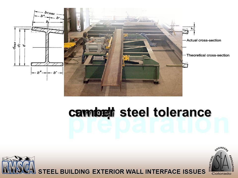 28 STEEL BUILDING EXTERIOR WALL INTERFACE ISSUES steel tolerance sweep roll camber