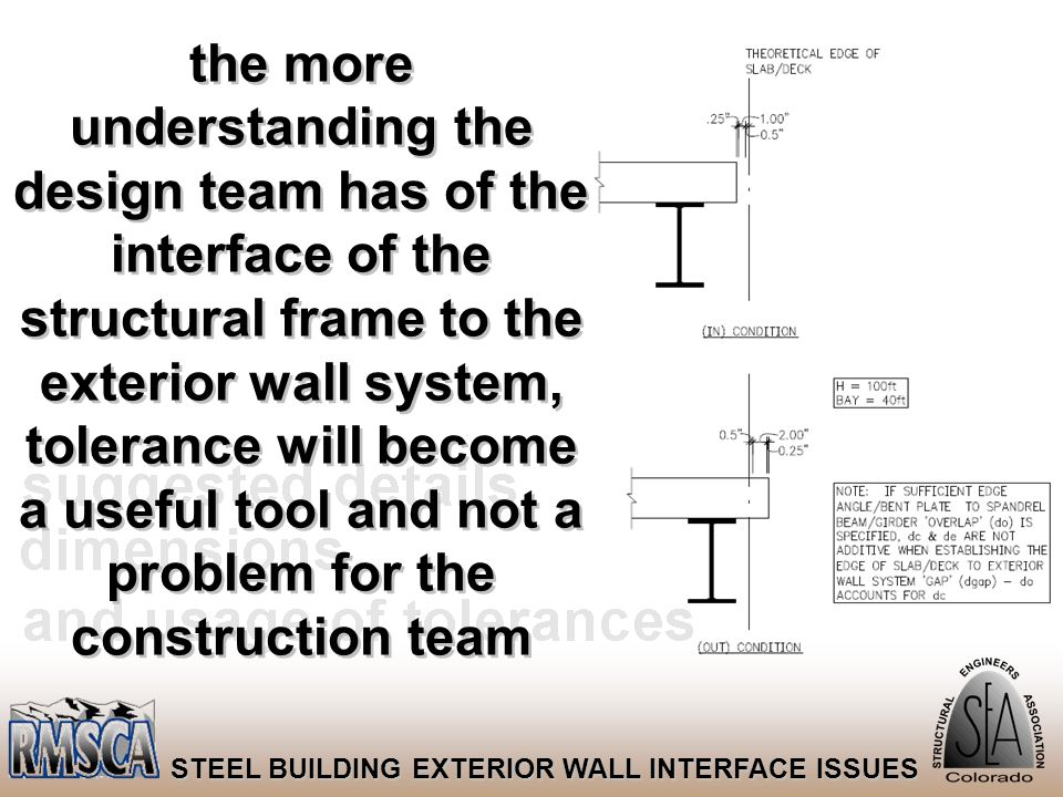 41 STEEL BUILDING EXTERIOR WALL INTERFACE ISSUES the more understanding the design team has of the interface of the structural frame to the exterior w