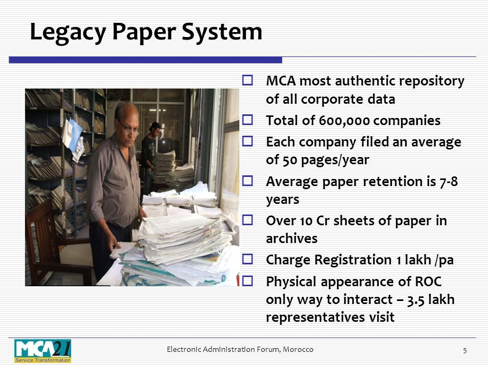 Legacy Paper System  MCA most authentic repository of all corporate data  Total of 600,000 companies  Each company filed an average of 50 pages/year  Average paper retention is 7-8 years  Over 10 Cr sheets of paper in archives  Charge Registration 1 lakh /pa  Physical appearance of ROC only way to interact – 3.5 lakh representatives visit Electronic Administration Forum, Morocco5