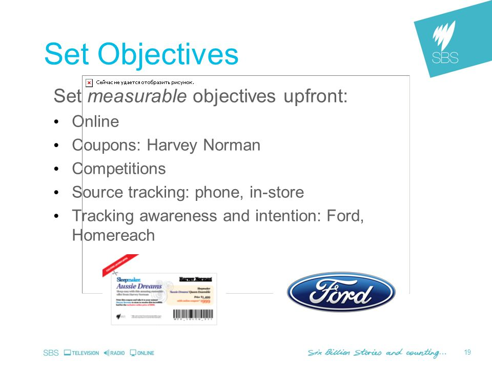 19 Set measurable objectives upfront: Online Coupons: Harvey Norman Competitions Source tracking: phone, in-store Tracking awareness and intention: Ford, Homereach Set Objectives