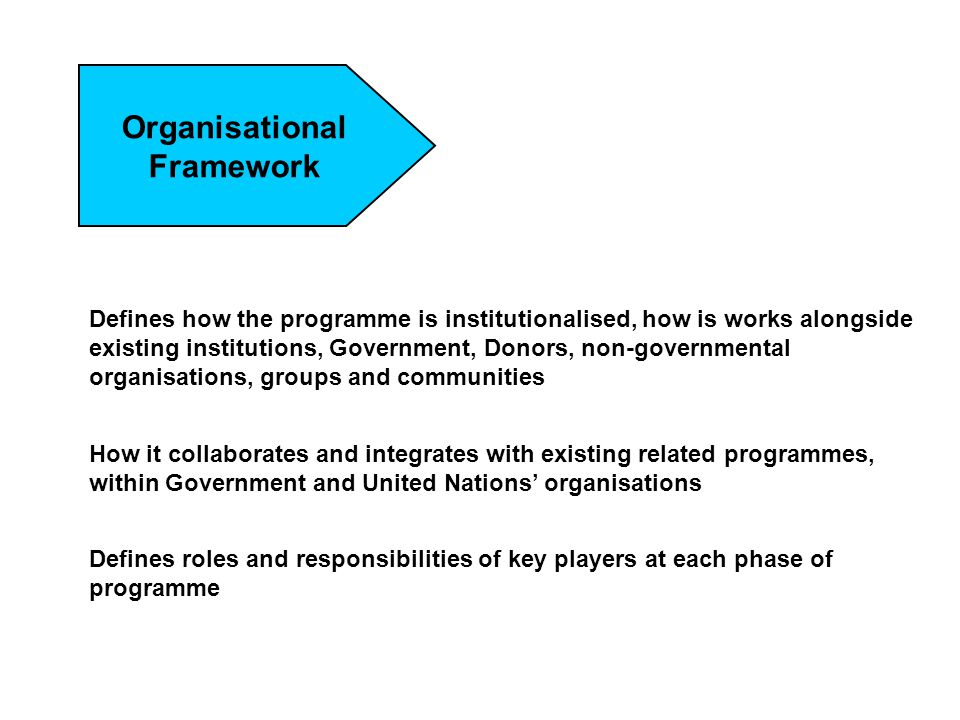 Organisational Framework Defines how the programme is institutionalised, how is works alongside existing institutions, Government, Donors, non-governm