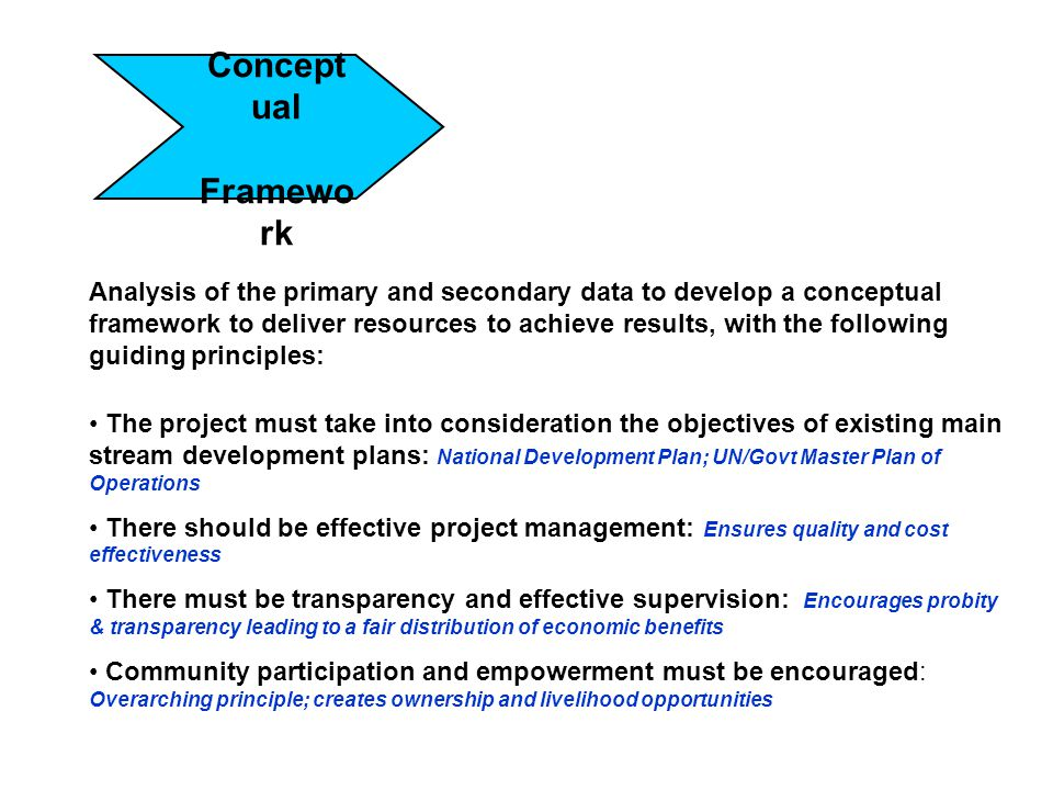 Concept ual Framewo rk Analysis of the primary and secondary data to develop a conceptual framework to deliver resources to achieve results, with the