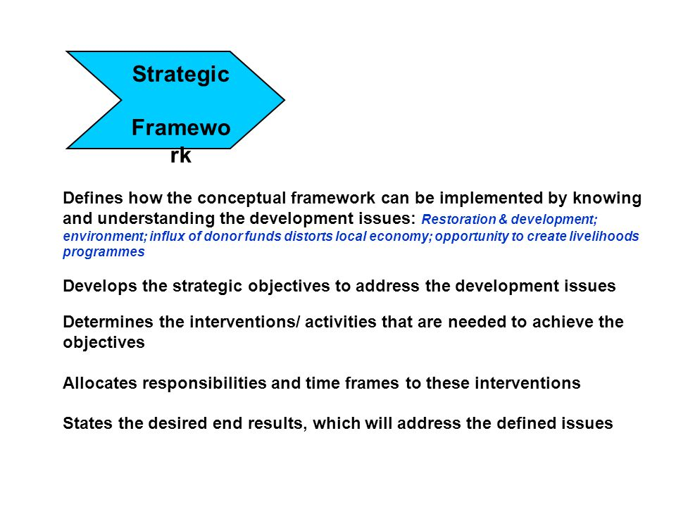 Strategic Framewo rk Defines how the conceptual framework can be implemented by knowing and understanding the development issues: Restoration & develo