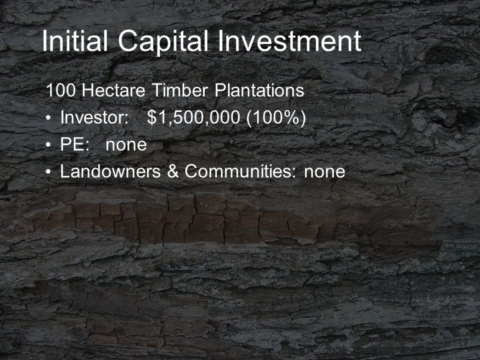 Initial Capital Investment 100 Hectare Timber Plantations Investor: $1,500,000 (100%) PE: none Landowners & Communities: none