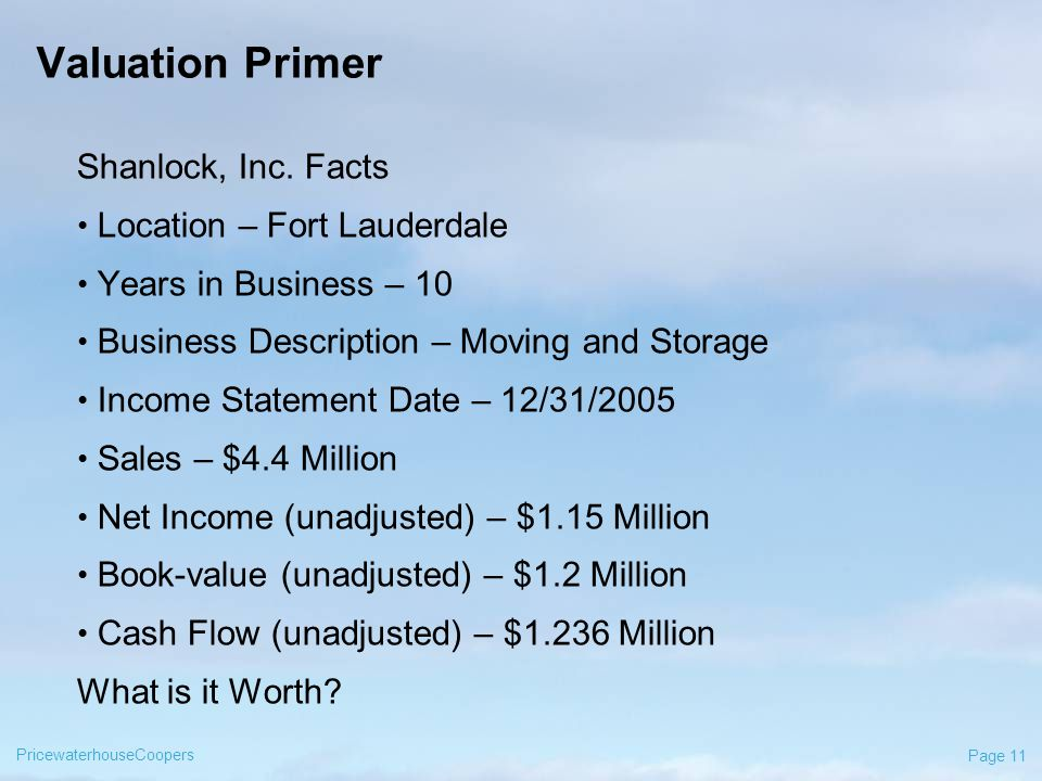 PricewaterhouseCoopers Page 11 Valuation Primer Shanlock, Inc.