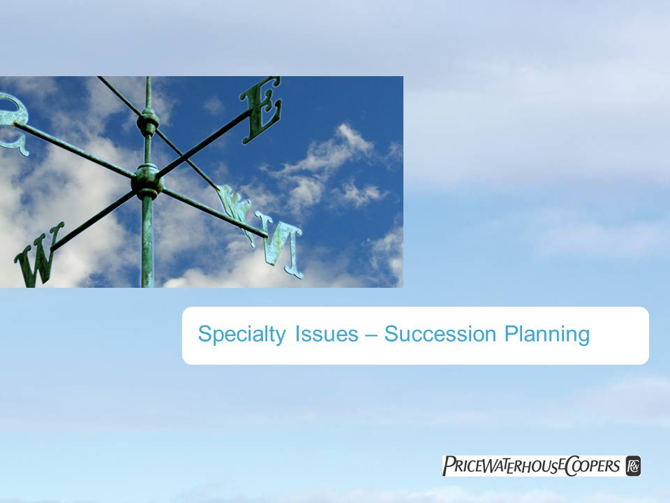 Specialty Issues – Succession Planning