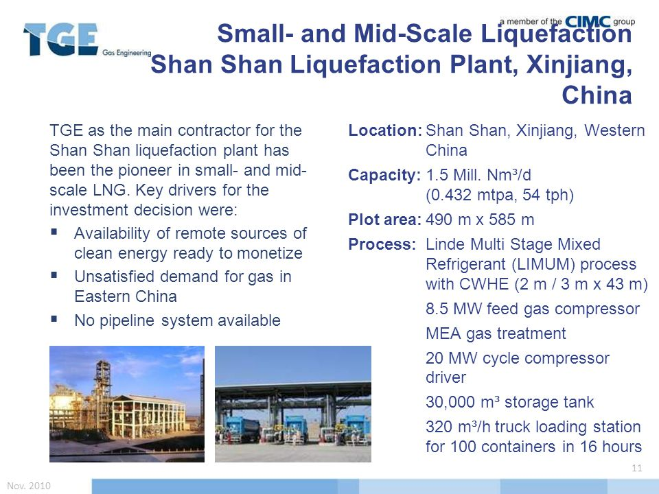 TGE as the main contractor for the Shan Shan liquefaction plant has been the pioneer in small- and mid- scale LNG.