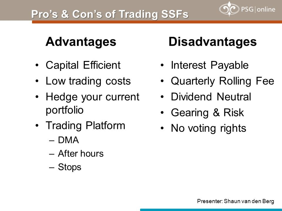 Capital Efficient Low trading costs Hedge your current portfolio Trading Platform –DMA –After hours –Stops Pro's & Con's of Trading SSFs AdvantagesDisadvantages Interest Payable Quarterly Rolling Fee Dividend Neutral Gearing & Risk No voting rights Presenter: Shaun van den Berg