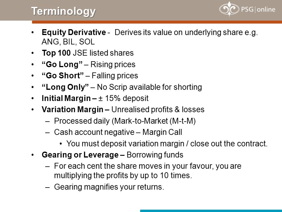 Equity Derivative - Derives its value on underlying share e.g.