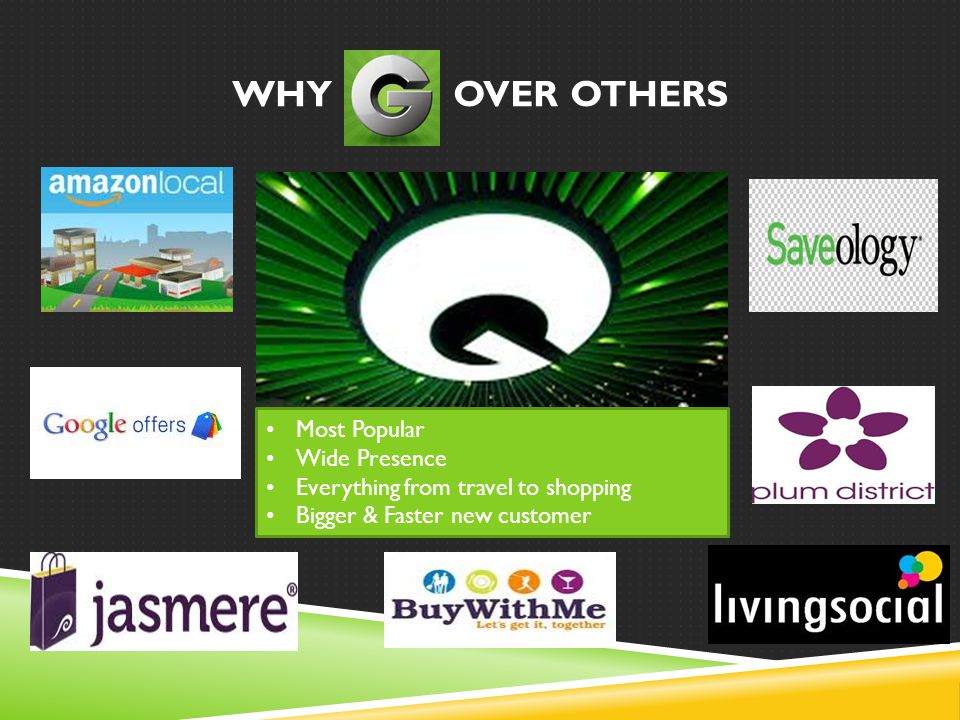 WHY OVER OTHERS Most Popular Wide Presence Everything from travel to shopping Bigger & Faster new customer