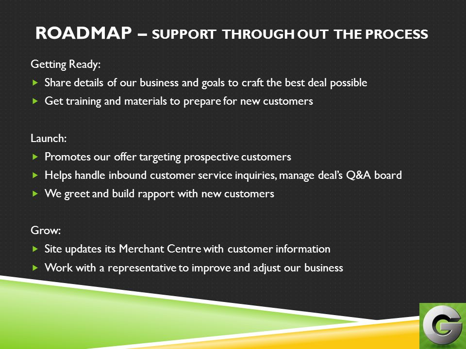 ROADMAP – SUPPORT THROUGH OUT THE PROCESS
