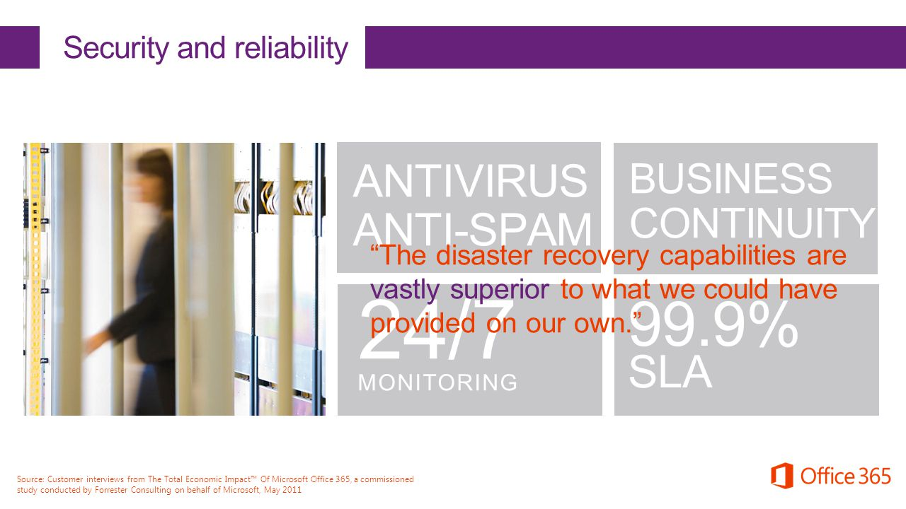 "ANTIVIRUS ANTI-SPAM 24/7 MONITORING BUSINESS CONTINUITY Security and reliability 99.9% SLA ""The disaster recovery capabilities are vastly superior to"