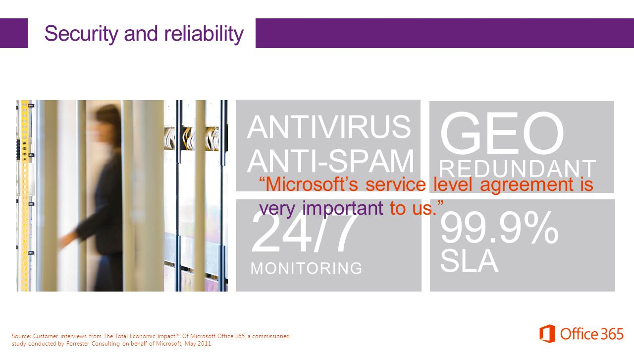 "ANTIVIRUS ANTI-SPAM 24/7 MONITORING GEO REDUNDANT Security and reliability 99.9% SLA ""Microsoft's service level agreement is very important to us."" So"