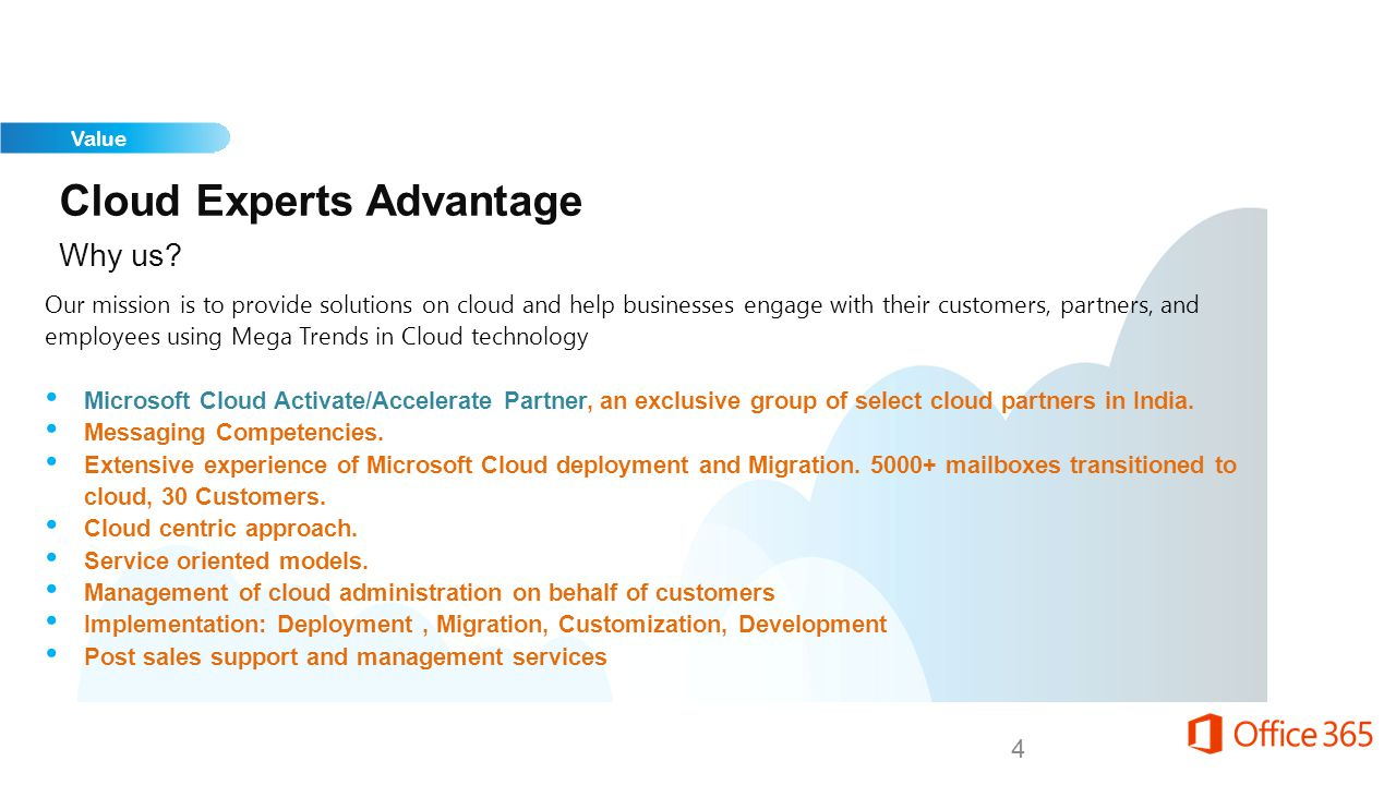Cloud Experts Advantage Our services Productivity and Workforce Automation Solution Deployment and Data Migration Private & Hybrid Cloud Customization and Integration with On Premise Solutions Application Development for Cloud Mobile Apps Development Business Solution Consulting Digital Marketing Managed Support and Administrative Services Administrative and End User Training Services 5