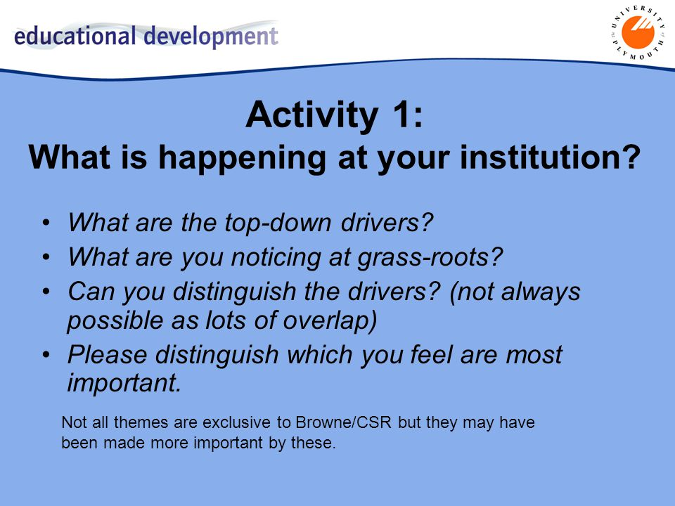 Activity 1: What is happening at your institution.