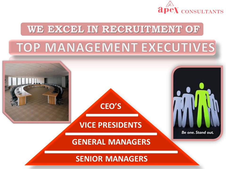WE EXCEL IN RECRUITMENT OF WE EXCEL IN RECRUITMENT OF CEO'S VICE PRESIDENTS GENERAL MANAGERS SENIOR MANAGERS