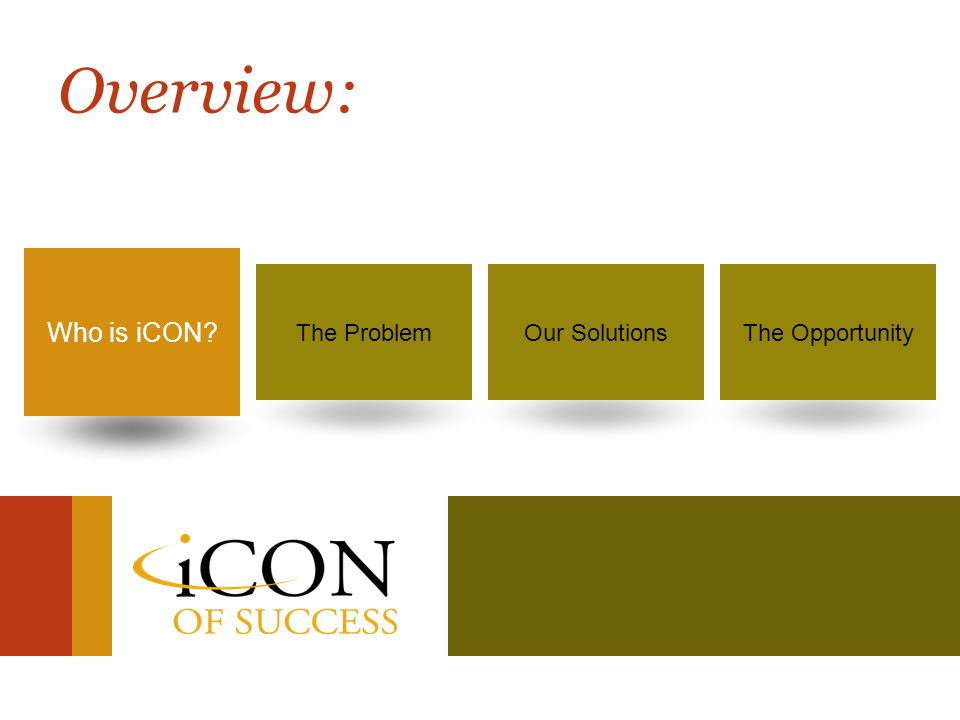 Success is no longer a dream… It's your destiny! 2 Who is iCON?The ProblemOur SolutionsThe Opportunity Who is iCON? Overview: