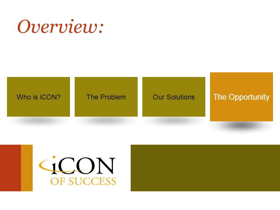 Success is no longer a dream… It's your destiny! 48 Our SolutionsWho is iCON?The ProblemThe Opportunity Overview: