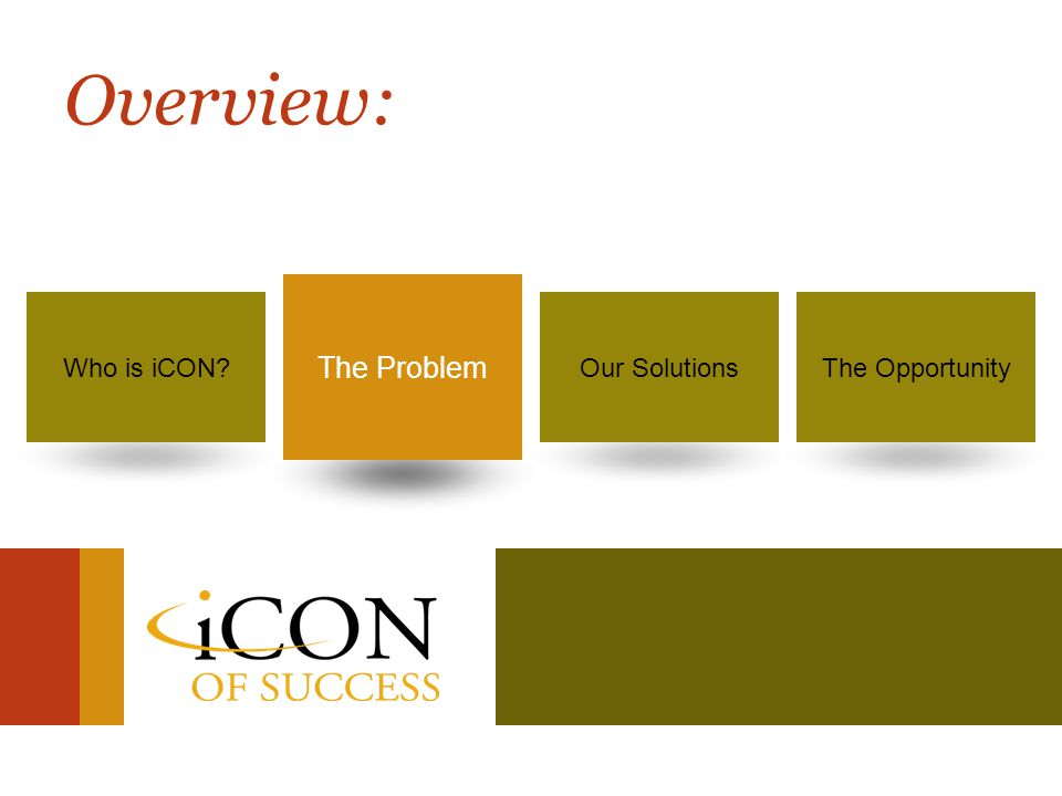 Success is no longer a dream… It's your destiny! 8 Who is iCON?The ProblemOur SolutionsThe Opportunity The Problem Overview: