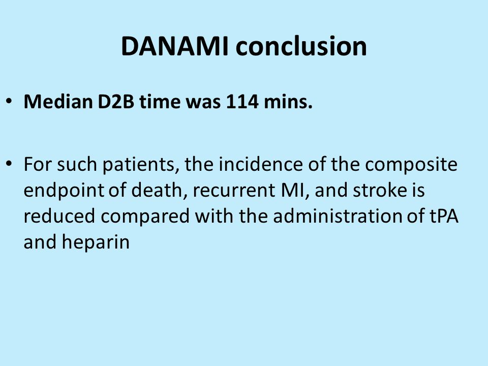 DANAMI conclusion Median D2B time was 114 mins.