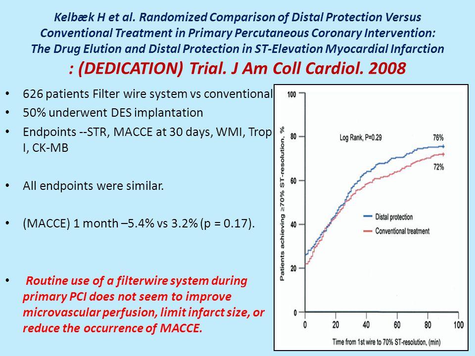 Kelbæk H et al. Randomized Comparison of Distal Protection Versus Conventional Treatment in Primary Percutaneous Coronary Intervention: The Drug Eluti