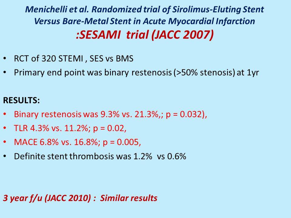 Menichelli et al. Randomized trial of Sirolimus-Eluting Stent Versus Bare-Metal Stent in Acute Myocardial Infarction :SESAMI trial (JACC 2007) RCT of