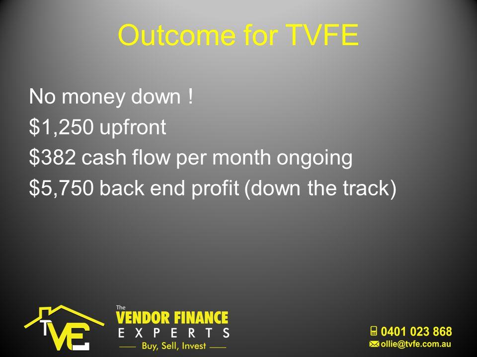 Outcome for TVFE No money down .