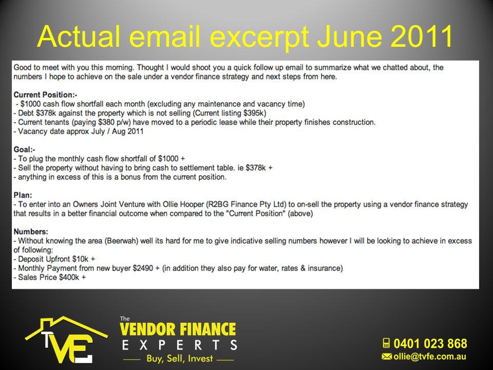 Actual email excerpt June 2011