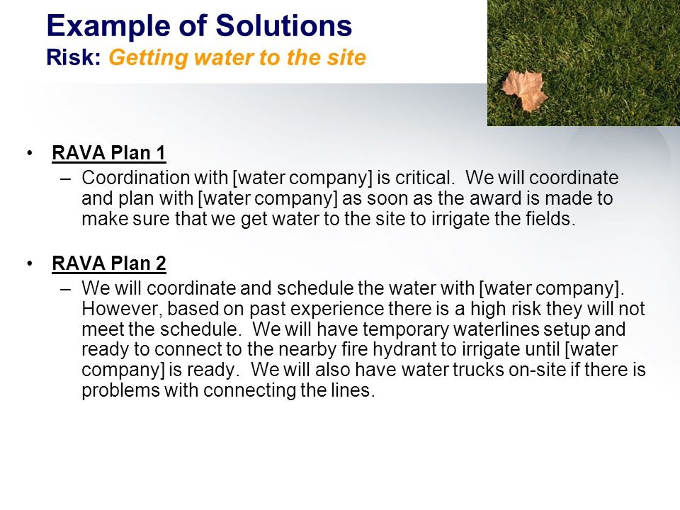 RAVA Plan 1 –Coordination with [water company] is critical.