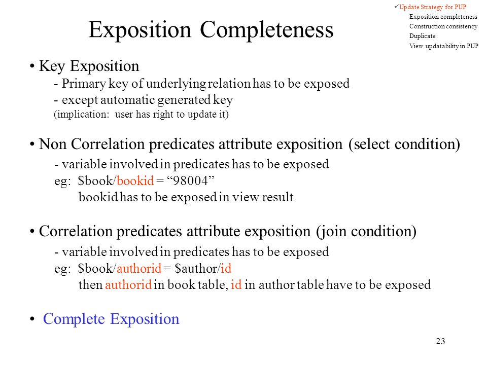 23 Exposition Completeness Key Exposition - Primary key of underlying relation has to be exposed - except automatic generated key (implication: user has right to update it) Non Correlation predicates attribute exposition (select condition) - variable involved in predicates has to be exposed eg: $book/bookid = 98004 bookid has to be exposed in view result Correlation predicates attribute exposition (join condition) - variable involved in predicates has to be exposed eg: $book/authorid = $author/id then authorid in book table, id in author table have to be exposed Complete Exposition Update Strategy for PUP Exposition completeness Construction consistency Duplicate View updatability in PUP