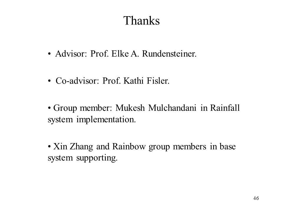 46 Thanks Advisor: Prof. Elke A. Rundensteiner. Co-advisor: Prof.