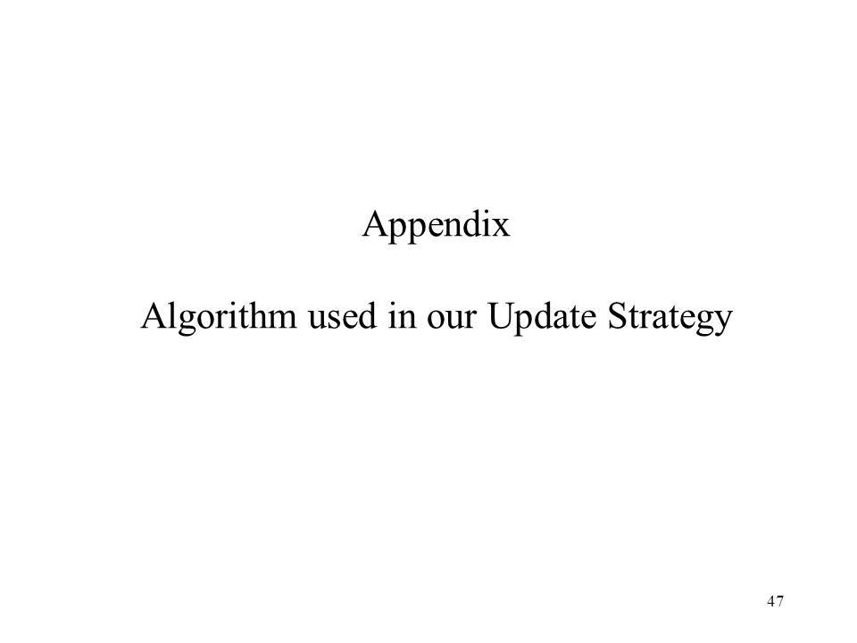47 Appendix Algorithm used in our Update Strategy
