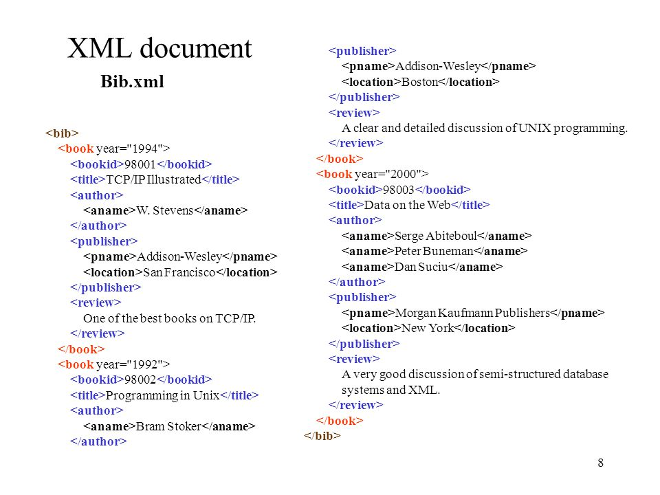 8 XML document Bib.xml Addison-Wesley Boston A clear and detailed discussion of UNIX programming.
