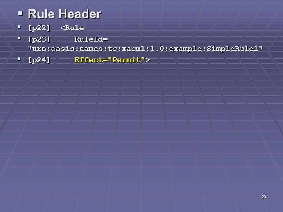 20  Rule Header  [p22] <Rule  [p23] RuleId= urn:oasis:names:tc:xacml:1.0:example:SimpleRule1  [p24] Effect= Permit >