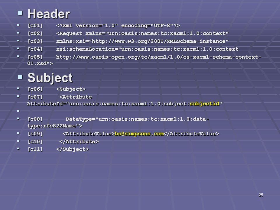 25  Header  [c01]  [c01]  [c02] <Request xmlns= urn:oasis:names:tc:xacml:1.0:context  [c03] xmlns:xsi= http://www.w3.org/2001/XMLSchema-instance  [c04] xsi:schemaLocation= urn:oasis:names:tc:xacml:1.0:context  [c05] http://www.oasis-open.org/tc/xacml/1.0/cs-xacml-schema-context- 01.xsd >  Subject  [c06]  [c06]  [c07] <Attribute AttributeId= urn:oasis:names:tc:xacml:1.0:subject:subjectid   [c08] DataType= urn:oasis:names:tc:xacml:1.0:data- type:rfc822Name >  [c09] bs@simpsons.com  [c09] bs@simpsons.com  [c10]  [c10]  [c11]  [c11]