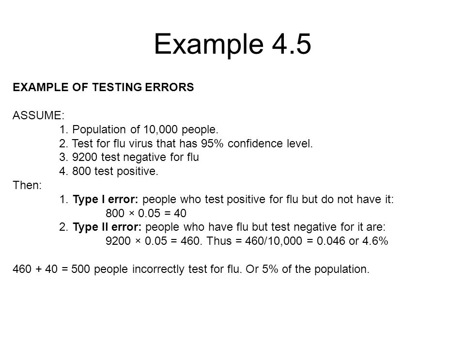 Example 4.5 EXAMPLE OF TESTING ERRORS ASSUME: 1. Population of 10,000 people.