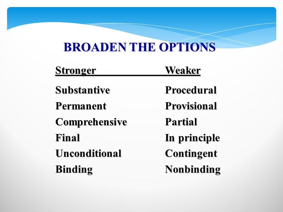 StrongerWeaker SubstantiveProcedural PermanentProvisional ComprehensivePartial FinalIn principle UnconditionalContingent BindingNonbinding BROADEN THE OPTIONS
