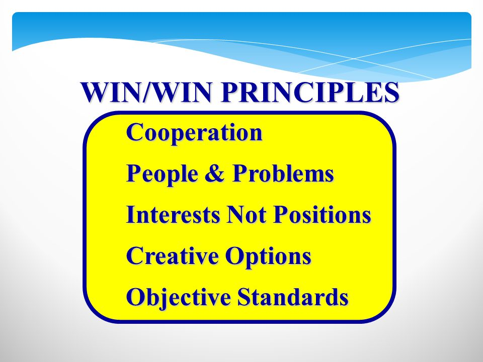 Cooperation People & Problems Interests Not Positions Creative Options Objective Standards WIN/WIN PRINCIPLES