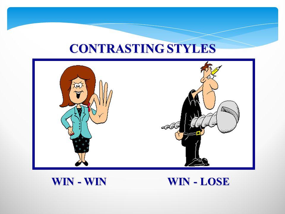 CONTRASTING STYLES WIN - WIN WIN - LOSE